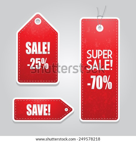 Red price tags set - stock vector
