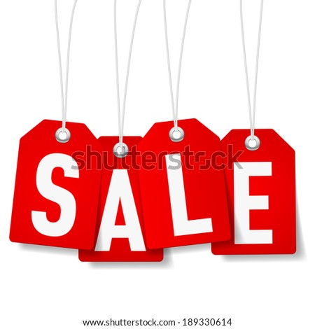 Red price tags with Sale word on white background
