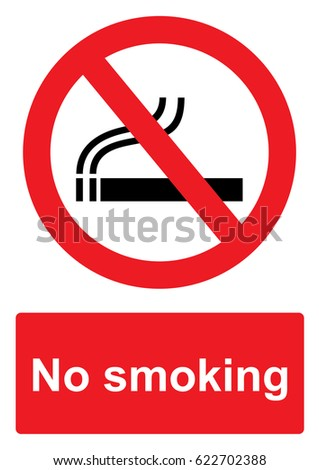 Red Prohibition Sign isolated on a white background -  No smoking