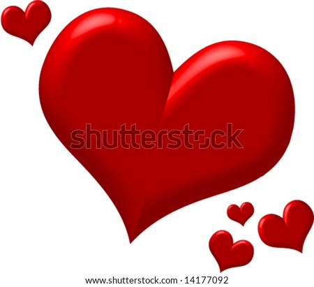 Red puffy hearts - stock vector