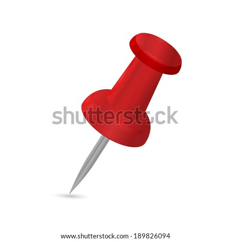 red pushpin on white background - stock vector