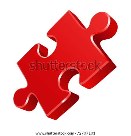Red puzzle 3d pie vector icon. Eps 10. - stock vector