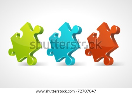 Red puzzle 3d pie vector icons set. Eps 10. - stock vector