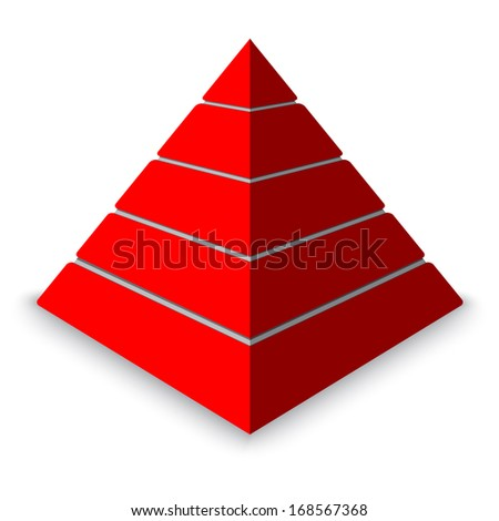 Red Pyramid levels - stock vector