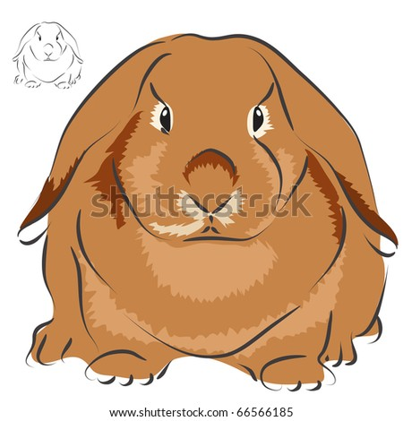 red rabbit - stock vector