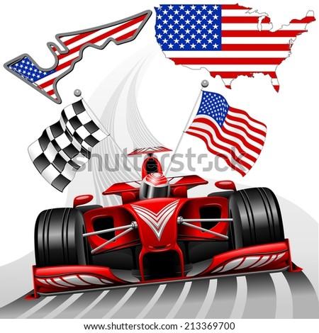 Red Race Car  Austin USA - stock vector