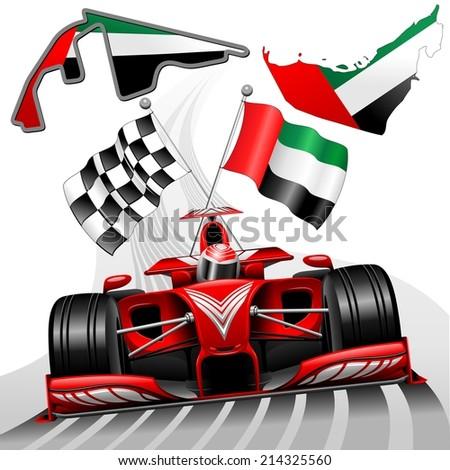 Red Race Car GP Abu Dhabi United Arab Emirates - stock vector