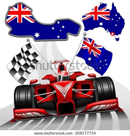 Red Race Car GP Australia - stock vector
