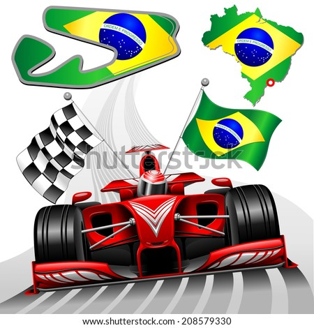 Red Race Car GP Brazil - stock vector