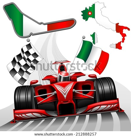 Red Race Car GP Monza Italy