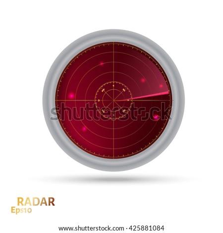 Red radar icon. Illustration white background for design - stock vector