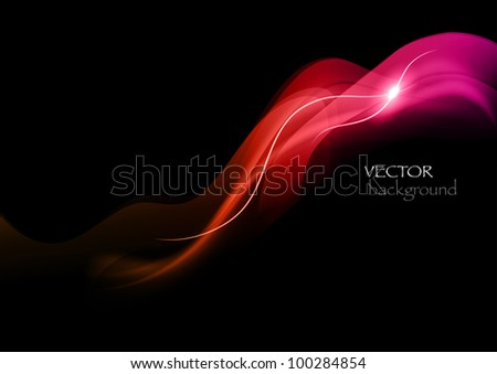 red rays on the black background - stock vector