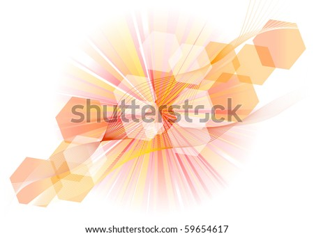 red rays on the white - stock vector