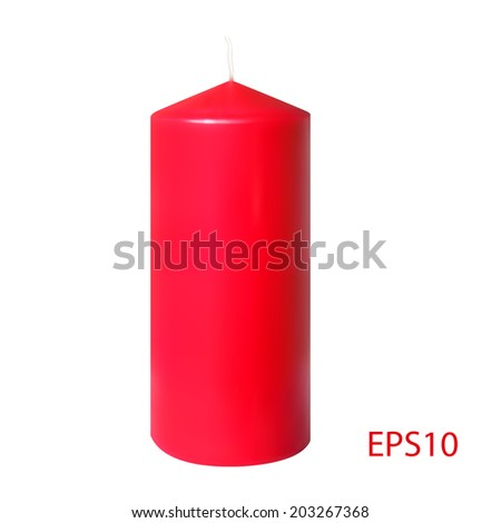 Red realistic candle isolated on white background, vector eps10 illustration.