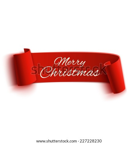 Red realistic detailed curved paper Merry Christmas banner isolated on white background. Vector illustration - stock vector