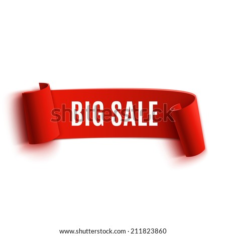 Red realistic detailed curved paper sale banner. Ribbon. Vector illustration - stock vector