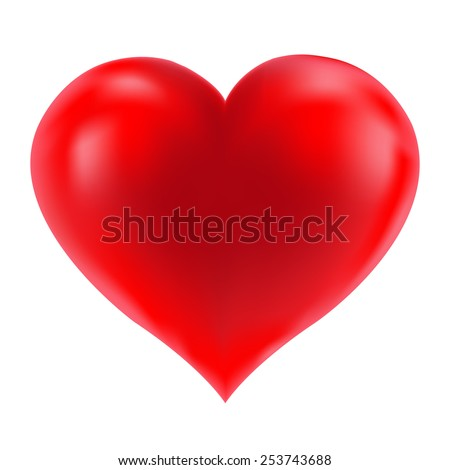 Red Realistic Heart With Gradient Mesh, Vector Illustration