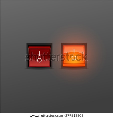 Red Realistic Toggle Switch. Vector