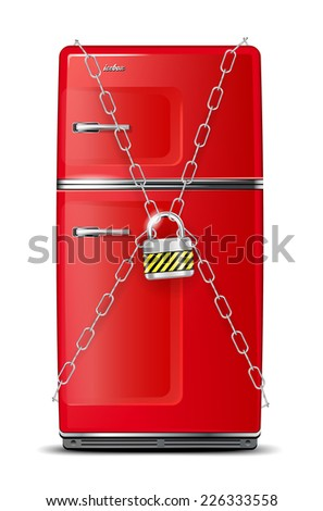 Red refrigerator wrapped in chains with lock - isolated on white. Vector illustration. - stock vector
