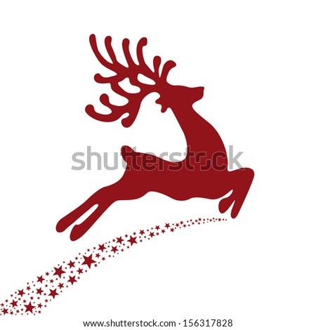 red reindeer flying stars  - stock vector