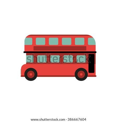 Red Retro City Double Decker Bus; Bus; Red Bus; City Bus; City Bus Isolated; City Bus Icon; City Bus Graphic; City Bus Picture; City Bus Vector; Bus Side; Bus City Tours; UK Travel; London Bus - stock vector