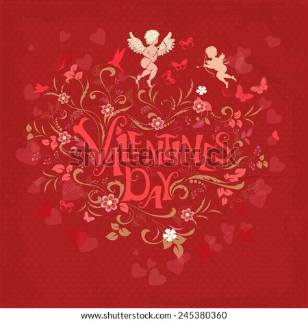Red retro greeting card valentine day - stock vector