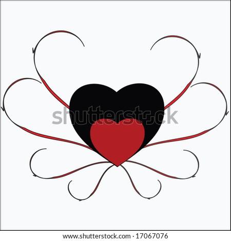 red retro hearts - stock vector