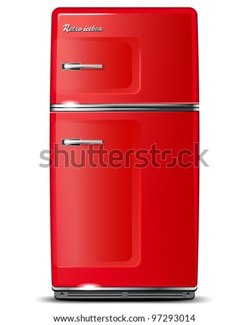 Red retro refrigerator - isolated on white - vector file - stock vector