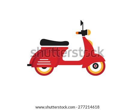 Red retro vintage motor bike icon isolated on white background - stock vector