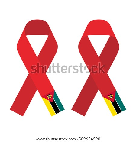Red ribbon AIDS, HIV icon with Mozambique flag concept flat color illustration, front and back side set isolated on white background
