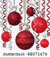 Red ribbon and bauble inspired Christmas card in vector format. - stock vector