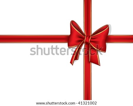 Red ribbon and bow - stock vector