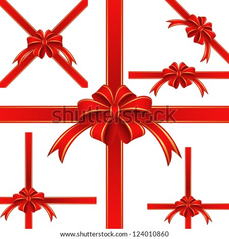 Red ribbon and bow for gift - stock vector