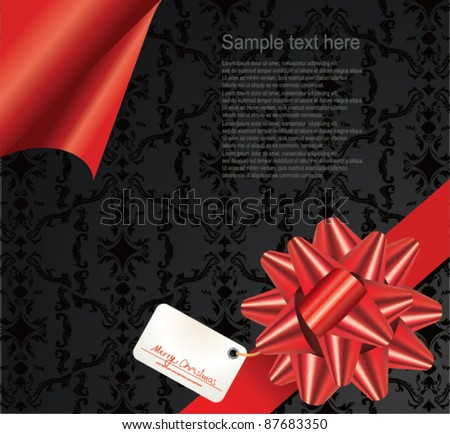 Red ribbon and gift tag.Vector - stock vector