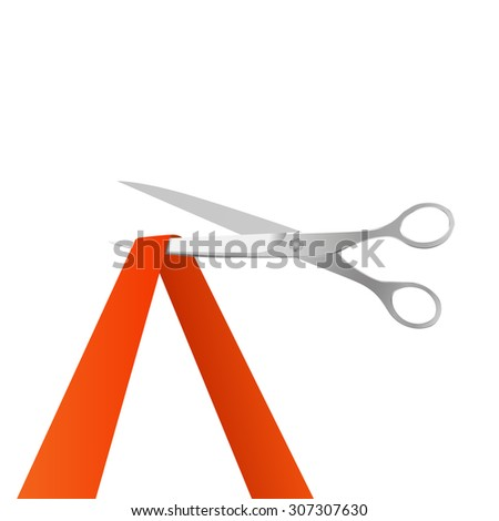 Red ribbon and realistic silver scissors. Vector illustration - stock vector