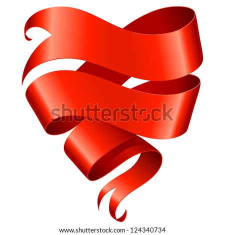 Red ribbon banner in the shape of heart isolated on white background - stock vector