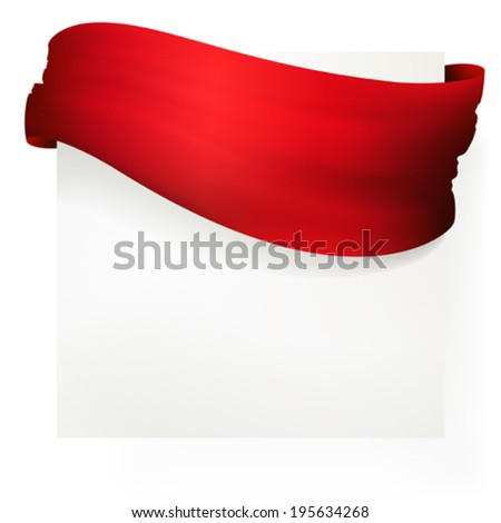 red ribbon banner , vector drawing  - stock vector