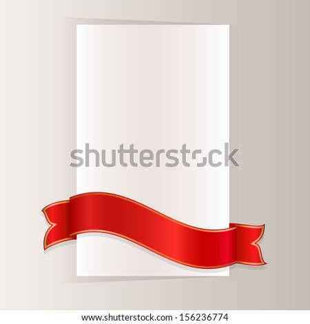 Red ribbon bending around blank paper card vector template. - stock vector