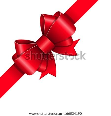 Red ribbon bow gift design element vector illustration - stock vector