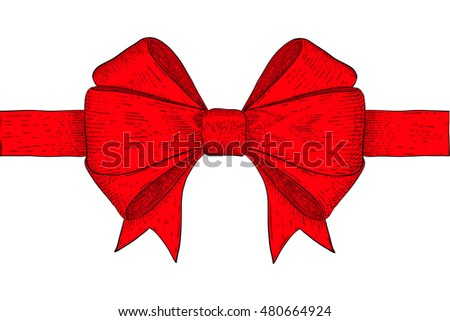 Red ribbon bow. Hand drawn sketch. Vector illustration isolated on white background
