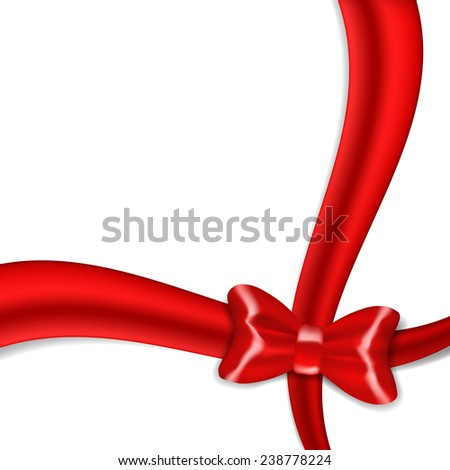 Red ribbon bow isolated on white background. EPS10 vector. - stock vector