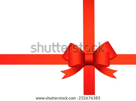 Red ribbon bow isolated on white background, vector illustration