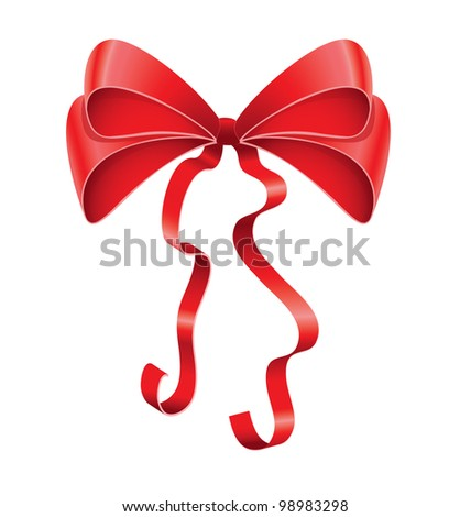 Red ribbon bow tied up for present - stock vector