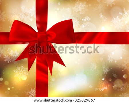 Red ribbon bow with bokeh, Christmas decoration. EPS 10 vector file included