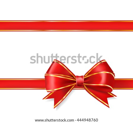 red ribbon bow with gold on white. vector decorative design elements - stock vector