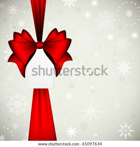 Red Ribbon Bow with Sale Tag for your text | Vector Christmas Card - stock vector