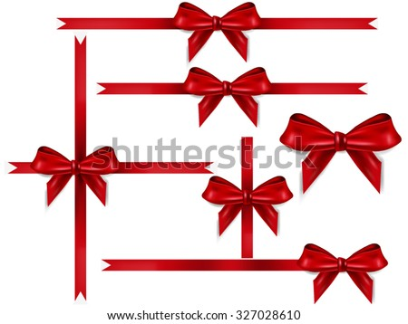 Red ribbon bows on white background - stock vector