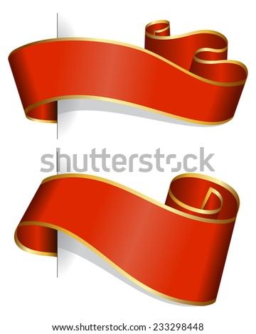 Red ribbon collection isolated on white background - stock vector