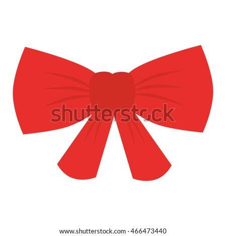 red ribbon decoration isolated flat icon design