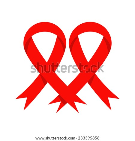 Red ribbon heart shape, aids awareness, vector illustration  - stock vector